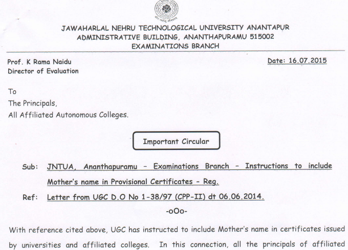 Jntua instructions to include mothers name in provisional all the jnut anatapuramu universtity btechbarmacymtechmarmcay students that is including your mothers name in provisional certificatepc altavistaventures Gallery