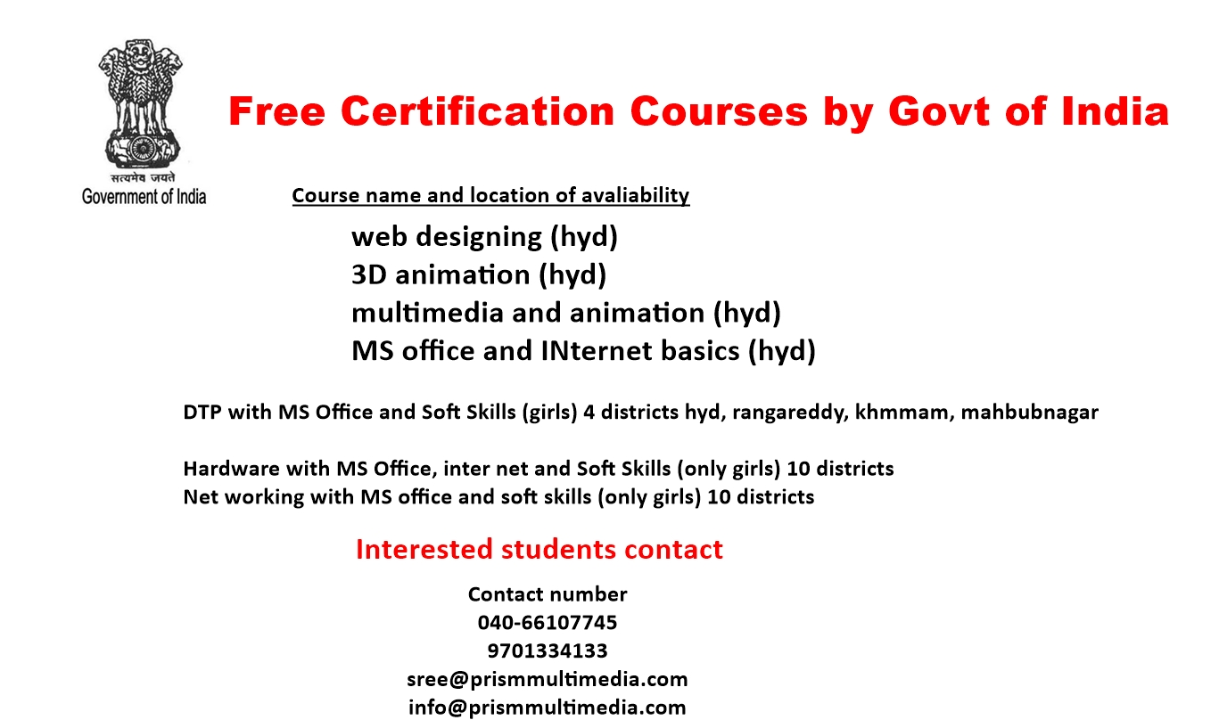 Registrations For Free Certification Courses By Government Of India